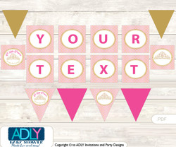 Personalized Crown Tiara Printable Banner for Baby Shower, Pink Gold, Royal