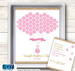 Girl Bokeh Guest Book Alternative for a Baby Shower, Creative Nursery Wall Art Gift, Gold Pink, Glitter