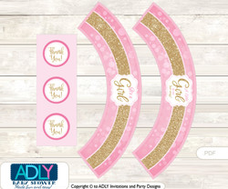 Printable Girl Bokeh Cupcake, Muffins Wrappers plus Thank You tags for Baby Shower Gold Pink, Glitter