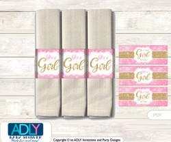 Printable Girl Bokeh Napkin Ring Label or Napkin Holders for Baby Shower, Gold Pink, Glitter