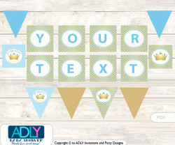Personalized Blue Prince Printable Banner for Baby Shower, Chevron, Gold