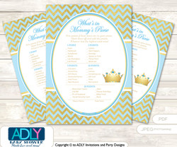 Blue Prince What is in Mommy's Purse, Baby Shower Purse Game Printable Card , Chevron,  Gold