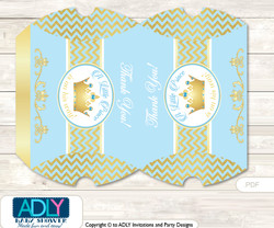 Blue Prince Pillow Box for Candy, Little Treats or Small Gift of any Baby Shower or Birthday, Chevron , Gold