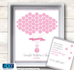 Bokeh Girl Guest Book Alternative for a Baby Shower, Creative Nursery Wall Art Gift, Pink Gray, Glitter