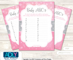 Bokeh Girl Baby ABC's Game, guess Animals Printable Card for Baby Girl Shower DIY –Glitter