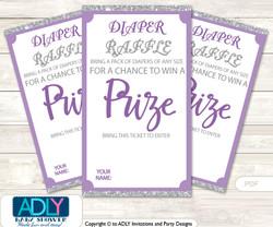 Purple Girl Diaper Raffle Printable Tickets for Baby Shower, Gray, Bokeh