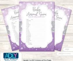 Printable Purple Girl Baby Animal Game, Guess Names of Baby Animals Printable for Baby Girl Shower, Gray, Bokeh