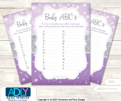 Purple Girl Baby ABC's Game, guess Animals Printable Card for Baby Girl Shower DIY –Bokeh