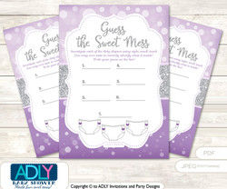 Purple Girl Dirty Diaper Game or Guess Sweet Mess Game for a Baby Shower Gray, Bokeh