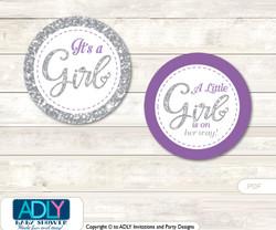 Printable  Purple Girl Candy Kisses for Baby Purple Shower DIY Gray , Bokeh