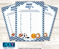 Boy MVP Baby ABC's Game, guess Animals Printable Card for Baby MVP Shower DIY –All Star