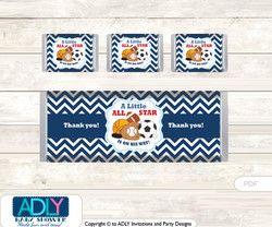 Boy MVP Chocolate Bar Wrapper and Nuggets Candy Wrapper Label for Baby Boy Shower  Basketball , All Star