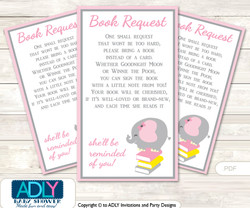 Request a Book Instead of a Card for Girl Elephant Baby Shower or Birthday, Printable Book DIY Tickets, Chevron,Yellow