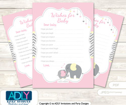 Girl Elephant Wishes for a Baby, Well Wishes for a Little Elephant Printable Card, Chevron, Yellow