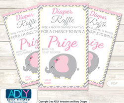 Girl Elephant Diaper Raffle Printable Tickets for Baby Shower, Yellow, Chevron