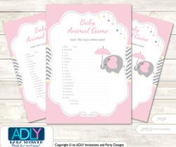 Printable Girl Elephant Baby Animal Game, Guess Names of Baby Animals Printable for Baby Elephant Shower, Yellow, Chevron