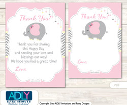 Girl  Elephant Thank you Cards for a Baby Girl Shower or Birthday DIY Yellow, Chevron