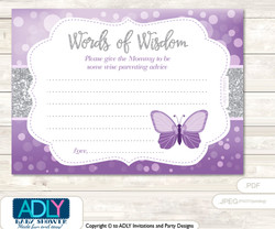 Gray Purple Butterfly Words of Wisdom or an Advice Printable Card for Baby Shower, Bokeh