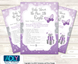 Printable Purple Butterfly Price is Right Game Card for Baby Butterfly Shower, Gray, Bokeh