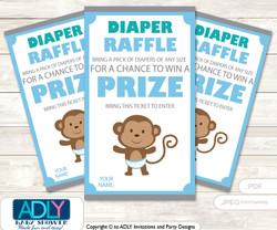 Boy Safari Diaper Raffle Printable Tickets for Baby Shower, Blue, Grey