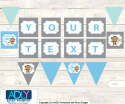 Personalized Boy Safari Printable Banner for Baby Shower, Blue, Grey
