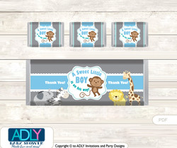 Boy Safari Chocolate Bar Wrapper and Nuggets Candy Wrapper Label for Baby Boy Shower  Blue , Grey