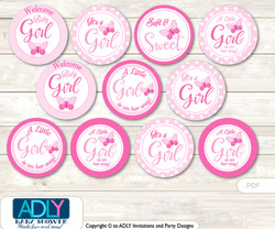 Baby Shower Pink Butterfly Cupcake Toppers Printable File for Little Pink and Mommy-to-be, favor tags, circle toppers, Polka, Soft Pink