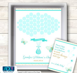 Neutral Butterfly Guest Book Alternative for a Baby Shower, Creative Nursery Wall Art Gift, Turquoise, Aqua