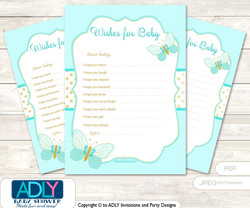 Neutral Butterfly Wishes for a Baby, Well Wishes for a Little Butterfly Printable Card, Aqua, Turquoise