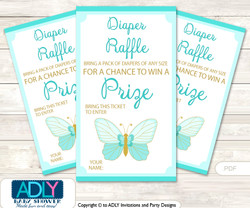 Neutral Butterfly Diaper Raffle Printable Tickets for Baby Shower, Turquoise, Aqua