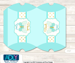Neutral Butterfly Pillow Box for Candy, Little Treats or Small Gift of any Baby Shower or Birthday, Turquoise , Aqua