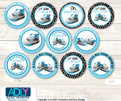 Baby Shower Sneakers Jumpman Cupcake Toppers Printable File for Little Sneakers and Mommy-to-be, favor tags, circle toppers, MVP, Black
