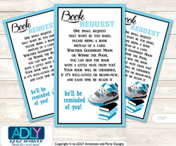 Request a Book Instead of a Card for Sneakers Jumpman Baby Shower or Birthday, Printable Book DIY Tickets, MVP,Black
