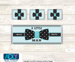 Aqua Bow Tie Dirty Diaper Game or Guess Sweet Mess Game for a Baby Shower Black, Polka  Aqua Bow Tie Chocolate Bar Wrapper and Nuggets Candy Wrapper Label for Baby Aqua Shower  Black , Polka