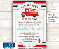 Fireman, fire car boy baby shower, little hero baby shower. Retro style, old fashion, vintage fire car invitation - brown, red blue