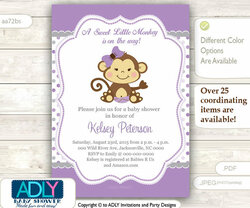 Purple Grey Monkey Girl Invitation for Baby Shower, lavander lilac polka invitation, brown girl monkey digital invite, DIY