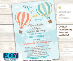 Twins Hot Air Balloon Invitation for Girl or Gender Neutral Shower, Coral, Mint,Turquoise, aqua, up and away, little babies, Map
