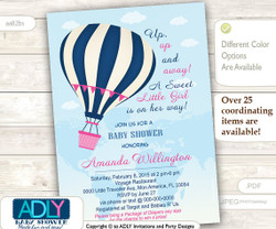 Pink Blue Hot Air Balloon Baby Shower Invitation,Oh the Places You'll Go || Travel Baby Shower, Up and Away, Little Girl, Map