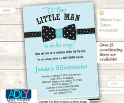 Light Turquoise Bow Tie Little Man Baby Shower Invitation, black bow tie polka dots, aqua,blue
