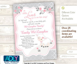 Pink Grey Little Lamb Girl Baby Shower Invitation for a New Baby Girl, Printable Sheep/Lamb Card, gray, powder pink