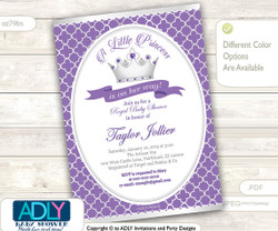 Silver Purple Princess Invitation for Royal Baby Shower, silver grey, silver crown,lavender, a Little Princess is on her way