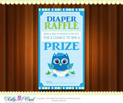 Blue Lime Boy Owl Diaper Raffle Tickets Printables for Baby Boys Shower DIY  - ONLY digital file - you print