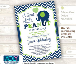 Blue Lime Green Elephant Invitation for Boy Baby Shower in Dark Blue Chevron, Green
