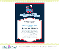 It's a boy Blue Red Train Baby Boy Shower Printable DIY party invitation for boy, Train Invitation, choo - ONLY digital file - you print