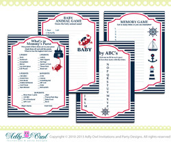 Essential Nautical Baby Shower Game Pack Printable for a Nautical Boy - anchor,sailboat, navy, crab, red- ONLY digital file - you print ao41