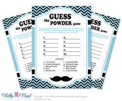 Boy Mustache Guess Powder Game, Guess White Stuff Game for Baby shower or Birthday Mustache  Shower DIY Blue Man Chevron