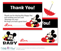 Boy Mickey Mouse Thank you Card Printable for Baby Boy Shower or Birthday DIY Red black , Polka - ao69bs22