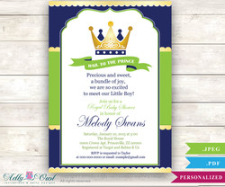 Blue Green Gold  Prince King Shower invitation for boy,king,golden crown,royal shower, lime green, royal blue crown