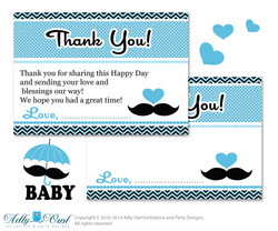 Boy Mustache Thank you Card Printable for Baby Boy Shower or Birthday DIY Blue Man , Chevron