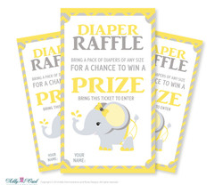 Girl Elephant Diaper Raffle Tickets Printable for Baby Girl Shower DIY Yellow Gray Chevron